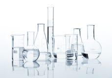 Grupo de garrafas clássicas do laboratório Imagens de Stock