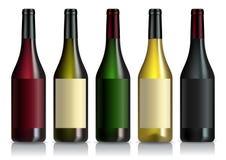Grupo de garrafas de vinho com etiquetas Imagem de Stock