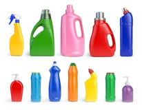 Grupo de garrafas detergentes e da SU dos recipientes, da limpeza e do lavagem Imagens de Stock Royalty Free
