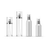 Grupo de garrafas do pulverizador de perfume no vidro e no plástico ilustração stock