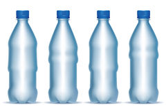 Grupo de garrafas plásticas claras Fotografia de Stock Royalty Free