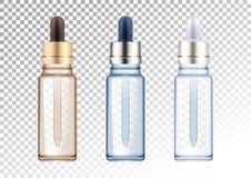 Grupo de garrafas de vidro realísticas do vetor em três cores Tubos de ensaio cosméticos para o óleo, líquido essencial, soro do  ilustração royalty free