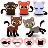 Grupo de gatinhos pequenos bonitos Foto de Stock