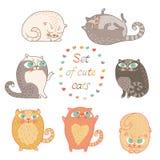 Grupo de gatos bonitos. ilustração royalty free
