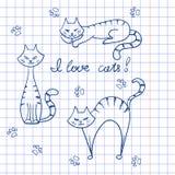 Grupo de gatos da garatuja Foto de Stock Royalty Free
