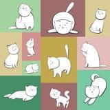 Grupo de gatos do vetor em umas caixas Foto de Stock