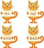Grupo de gatos dos desenhos animados com sinais Foto de Stock