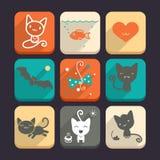 Grupo de gatos e de ícones do animal Parte 2 Fotos de Stock Royalty Free