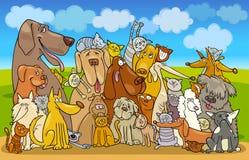 Grupo de gatos e de cães Fotografia de Stock Royalty Free