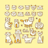 Grupo de gatos engraçados tirados mão no fundo amarelo Imagem de Stock Royalty Free