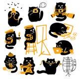 Grupo de gatos negros. Profesiones creativas Foto de archivo