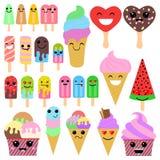 Grupo de gelado bonitos dos desenhos animados no fundo branco no estilo do kawaii de japão ilustração stock