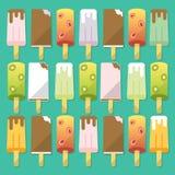 Grupo de gelado de número, ícones lisos, Fotografia de Stock