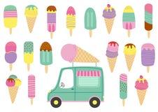 Grupo de gelado e de caminhão isolados Foto de Stock Royalty Free