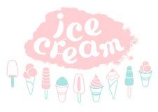 Grupo de gelado e de rotulação dos desenhos animados Coleção do gelado delicioso Arte macia Vetor Imagens de Stock Royalty Free