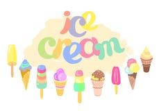Grupo de gelado e de rotulação dos desenhos animados Coleção na cor macia Vetor Imagens de Stock Royalty Free