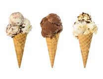 Grupo de gelado três no cone do waffle isolado no branco Fotografia de Stock Royalty Free