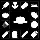 Grupo de geleia, mel, manteiga, farinha, mostarda, pizza, aspargo, P ilustração do vetor