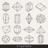 Grupo de gema e de minerais geométricos dos cristais ilustração royalty free