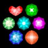 Grupo de gemas brilhantes redondas clássicas multi-coloridas do corte Imagens de Stock Royalty Free