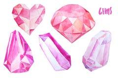 Grupo de gemas e de cristais coloridos Foto de Stock