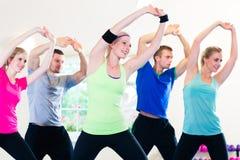 Grupo de gente de la aptitud en gimnasio en los aeróbicos Imagen de archivo libre de regalías
