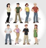 Grupo de gente de la historieta Foto de archivo libre de regalías
