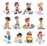 Grupo de gente de la historieta Imágenes de archivo libres de regalías