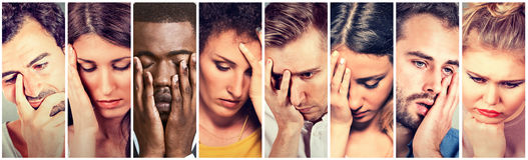 Grupo de gente deprimida triste Mujeres infelices de los hombres Imagen de archivo