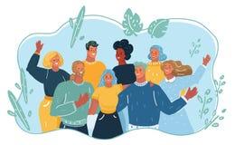 Grupo de gente feliz de vacaciones libre illustration