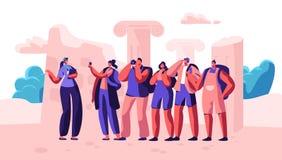 Grupo de gente joven con las mochilas y las cámaras de la foto que viajan al extranjero El varón y los turistas femeninos visit libre illustration