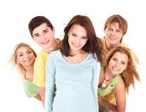 Grupo de gente joven en blanco. Foto de archivo libre de regalías