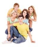 Grupo de gente joven en blanco. imágenes de archivo libres de regalías