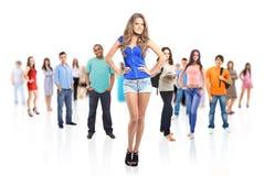 Grupo de gente joven.  en blanco Fotografía de archivo libre de regalías