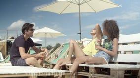Grupo de gente joven que disfruta de tiempo de vacaciones almacen de video