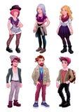 Grupo de gente joven, varones y hembras stock de ilustración