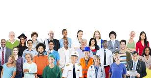 Grupo de gente multiétnica diversa con diversos trabajos Imagen de archivo