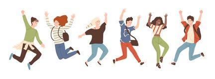 Grupo de gente de risa alegre joven que salta con las manos aumentadas aisladas en el fondo blanco Hombres jovenes positivos feli libre illustration