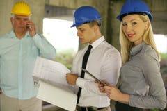 Grupo de gerentes profissionais da construção fotografia de stock royalty free