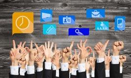 Grupo de gestos e de ícones de mão Imagem de Stock Royalty Free