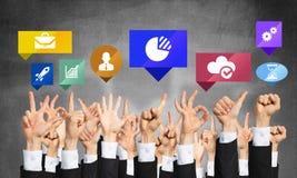 Grupo de gestos e de ícones de mão Fotografia de Stock Royalty Free