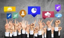 Grupo de gestos e de ícones de mão Imagem de Stock