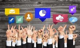 Grupo de gestos e de ícones de mão Fotografia de Stock
