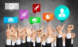 Grupo de gestos e de ícones de mão Foto de Stock Royalty Free