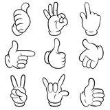 Grupo de gestos. Entrega a coleção dos símbolos (sinais). Estilo dos desenhos animados. Isolado no fundo branco. Fotos de Stock