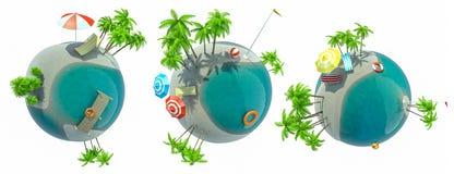 Grupo de globo da ilha do paraíso como o conceito para o curso exótico Fotografia de Stock