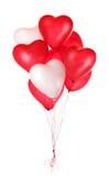 Grupo de globos rojos del corazón Foto de archivo