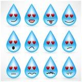 Grupo de gotas com as caras do emoticon do smiley fotos de stock royalty free