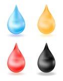 Grupo de gotas realísticas, amarelo, azul, vermelho, preto gota 3d isolada no fundo branco Água, sangue, óleo, mel Vetor Imagens de Stock