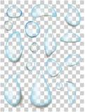 Grupo de gotas transparentes realísticas da água ilustração royalty free